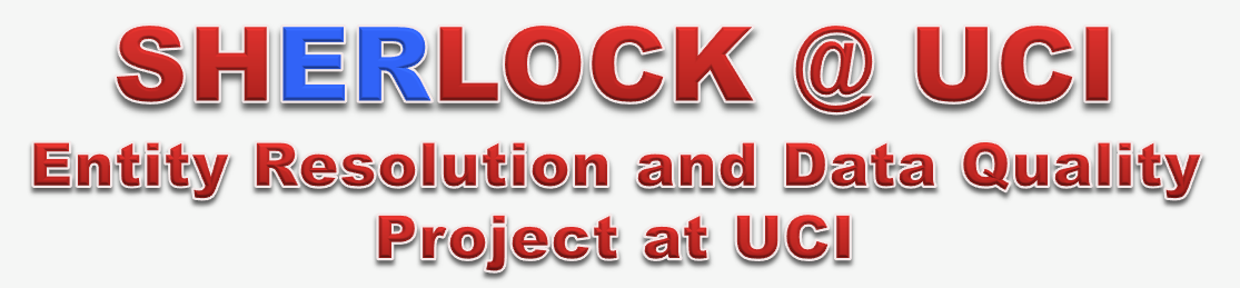 SHERLOCK @ UCI:  Entity Resolution and Data Quality Project at UC Irvine.